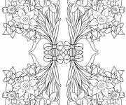 Coloring pages Adult Flowers in Bouquet