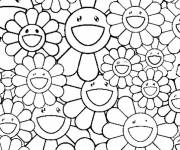 Coloring pages Adult Funny Flowers