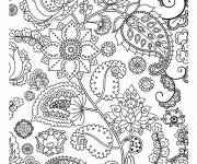 Coloring pages Decorated Adult Flowers