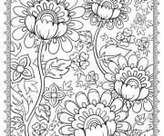 Free coloring and drawings Adult Beautiful Flowers Coloring page