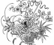 Coloring pages Adult Flower Princess at night