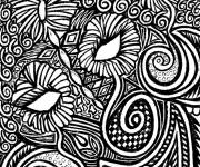 Free coloring and drawings Adult Flowers in Black Coloring page