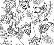 Coloring pages Adult Lotus Flowers and Birds