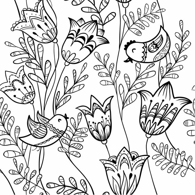 Free coloring and drawings Adult Lotus Flowers and Birds Coloring page