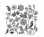 Free coloring and drawings Different flowers art Coloring page