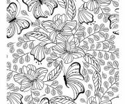 Coloring pages Flowers and Creative Butterfly