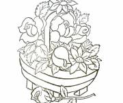 Free coloring and drawings Presentable Flower Basket Coloring page