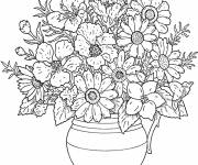Free coloring and drawings Well-arranged flowers for adults Coloring page