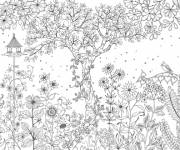 Free coloring and drawings Adult flower garden Coloring page
