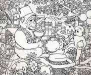Coloring pages Adult Landscape Animals on the Tree