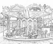 Coloring pages Adult the carousel Landscape
