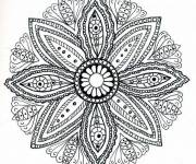 Coloring pages Difficult Flower Mandala for Adults