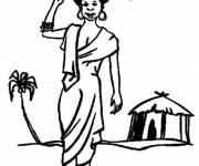 Coloring pages African woman
