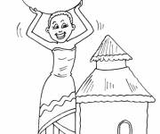 Coloring pages Easy african woman