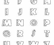 Coloring pages Alphabet decorated in black