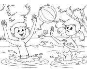 Coloring pages Children have fun in the water
