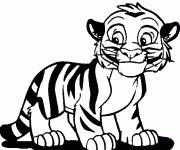 Free coloring and drawings A little smiling tiger Coloring page