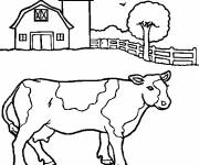 Free coloring and drawings Landscape of a Cow Coloring page