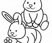 Coloring pages Little Rabbits have fun