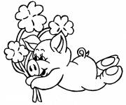 Free coloring and drawings Pig and bouquet of flowers Coloring page