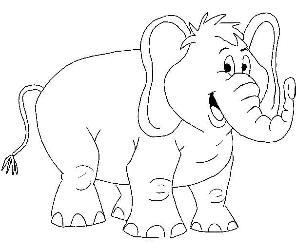 Free coloring and drawings A funny colored elephant Coloring page