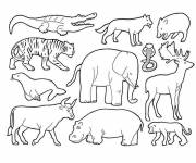 Free coloring and drawings African wild animals Coloring page