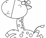 Free coloring and drawings Baby Giraffe smiling Coloring page