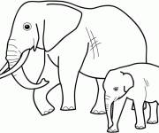 Free coloring and drawings Elephant with her baby Coloring page