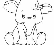 Free coloring and drawings Too cute elephant Coloring page