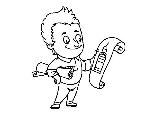 Free coloring and drawings A Little Architect Coloring page