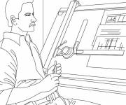 Free coloring and drawings Architect at work Coloring page