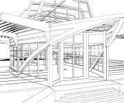 Free coloring and drawings Modern architecture Coloring page