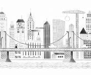 Free coloring and drawings Modern City Architecture Coloring page