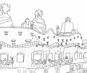Free coloring and drawings Stylistic architecture Coloring page