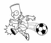 Coloring pages Bart plays ball