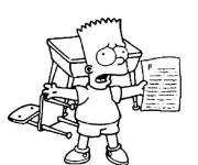 Coloring pages Bart Simpson at school