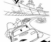 Coloring pages Cars Flash Mcqueen leads the race