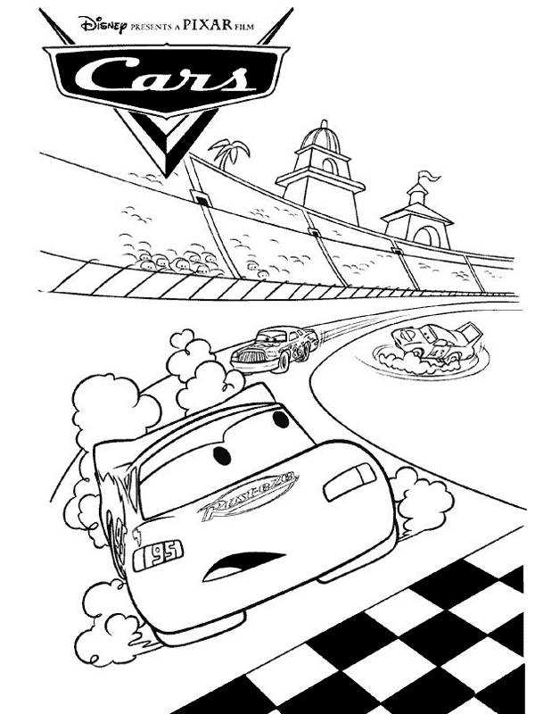 Free coloring and drawings Cars Flash Mcqueen leads the race Coloring page