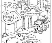 Free coloring and drawings Flash Mcqueen in The City Coloring page
