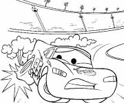 Free coloring and drawings Flash Mcqueen tire explodes Coloring page