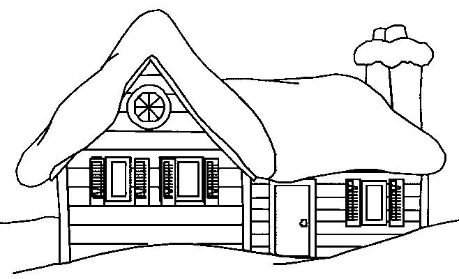 Free coloring and drawings A chalet in black and white Coloring page