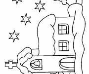 Coloring pages A Church at Night