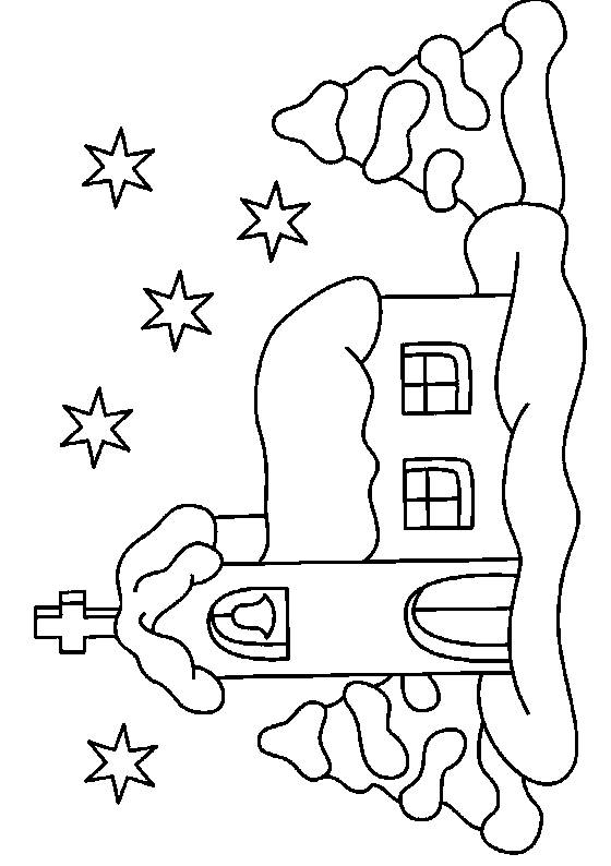 Free coloring and drawings A Church at Night Coloring page