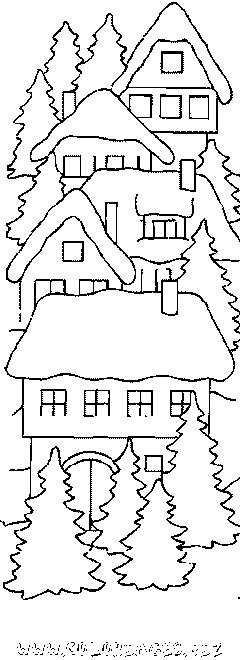Free coloring and drawings A maternal wooden chalet Coloring page