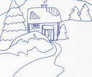 Coloring pages Chalet in blue