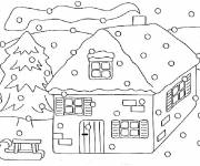 Coloring pages Chalet in Winter