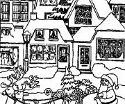 Coloring pages Christmas chalet to be colored