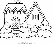 Free coloring and drawings Facade of a Chalet Coloring page