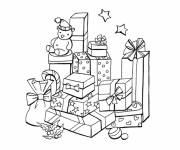 Coloring pages Christmas gifts in black and white