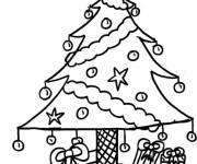 Coloring pages Christmas tree and gifts